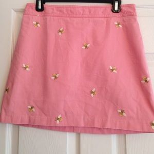 J Crew chino embroidered bee skirt